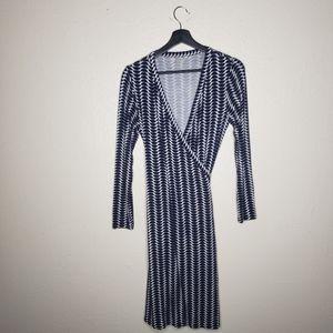 Boden Blue Striped Printed Wrap Dress